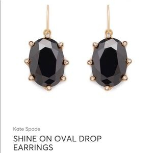 Kate Spade Black & Gold Oval Drop Earrings lk NEW